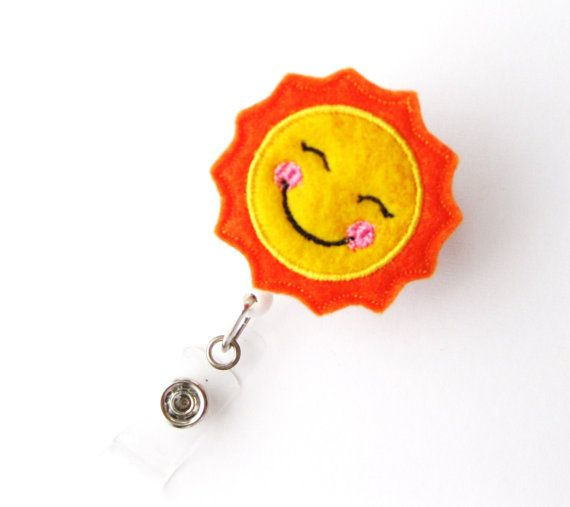 Happy Sun - Name Badge Holder - Cute Badge Reels - Unique Retractable ID Badge Holder - Felt Badge Reel - RN Badge - BadgeBlooms