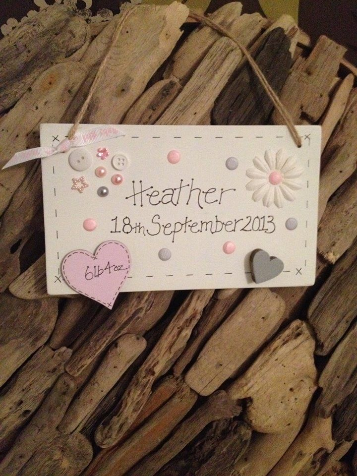 New Baby Girl Personalized Plaque ....Great idea to make!