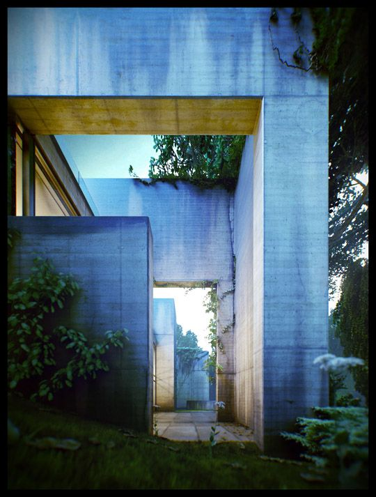 concrete3D Architecture, Architects Rendering, Forests House, Viktor Fretyán, Architecture Rendering, Architects House, Satoshi Okada, Amazing Architecture, Architecture Visual
