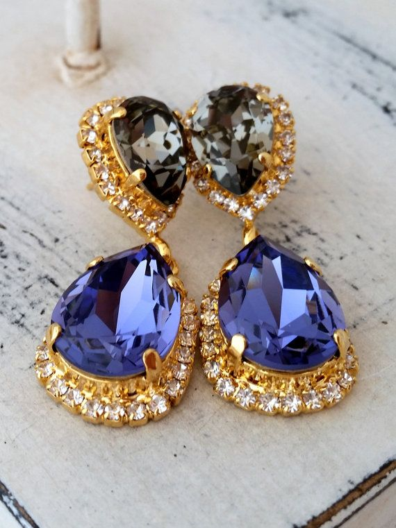 Tanzanite purple and grey Chandelier earrings by EldorTinaJewelry | http://etsy.me/1I2udXp