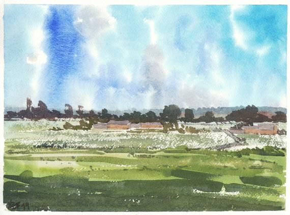 Watercolor Painting Landscape Decor Countryside Painting Blue