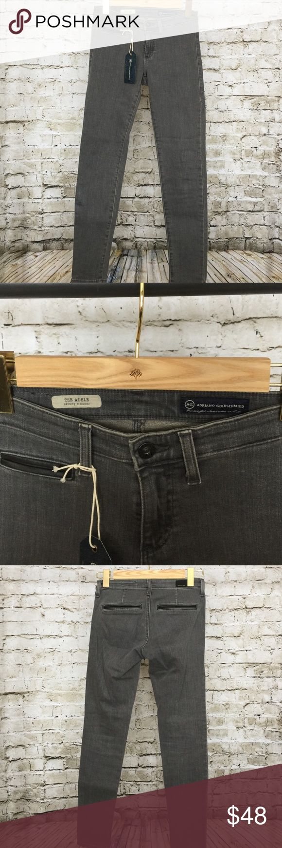 """AG Adele Skinny Trousers in Slate Size 26 AG Adele Skinny Trousers in Slate Size 26. Leather trim in front and back pockets. Purchased at a AG Warehouse sale and marked """"Irregular"""" on inside. 29"""" inseam. I have looked them over and can find no flaws to deem them irregular. AG Adriano Goldschmied Jeans Skinny"""