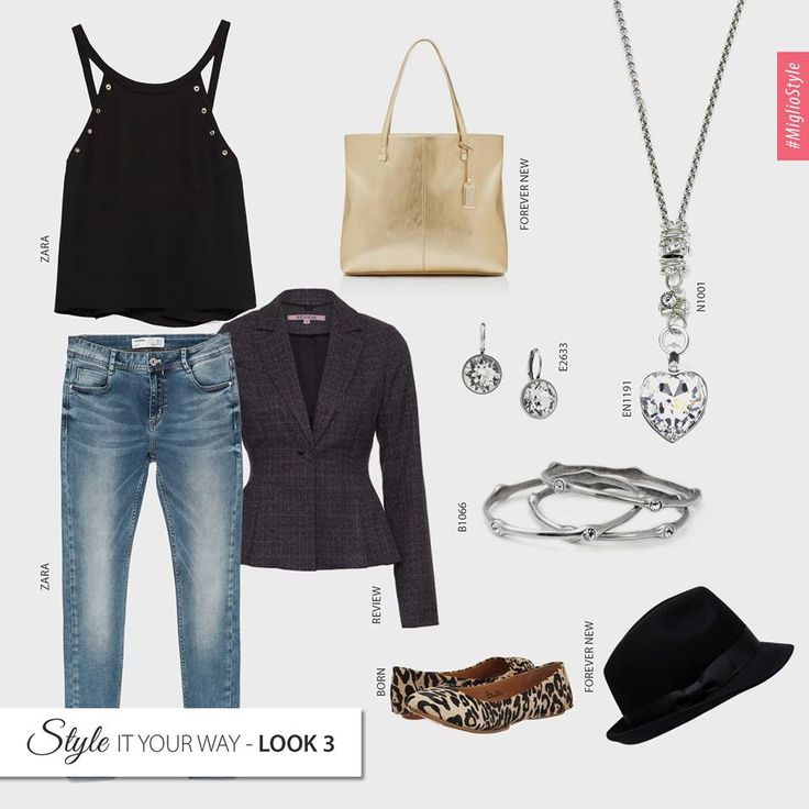 #migliostyle - #accessories can transform any #outfit & we've made it playful! How would you style this #ZARA #black #top & #jeans? www.miglio.com
