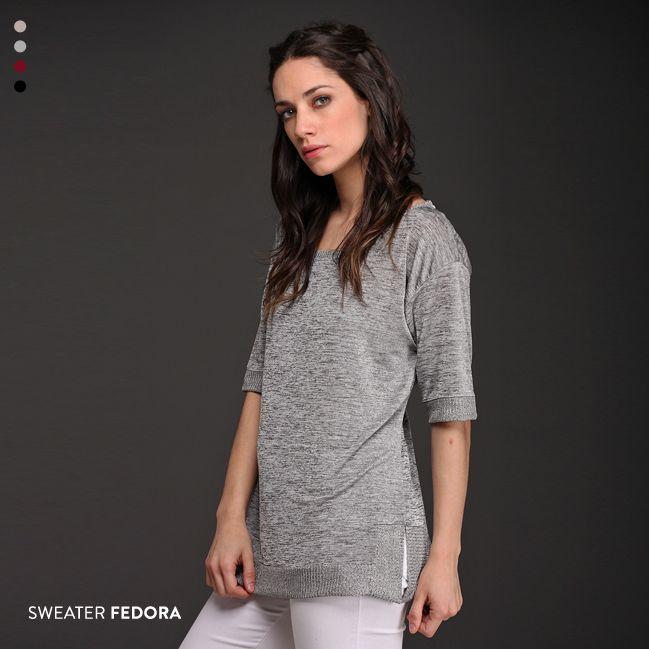 Los abrigos livianos son un aliado de primavera verano. El Sweater Fedora, de hilo de seda, tiene tajos laterales y es suave al tacto. Una prenda delicada para un #outfit ultra femenino.