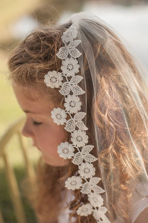 Floral Lace Trim First Communion Veil by firstcommunionveils