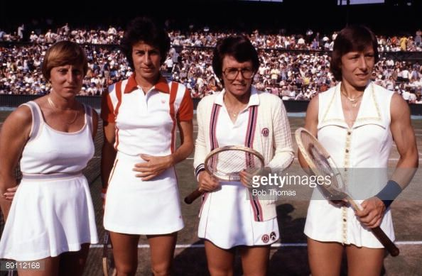 Francoise Durr of France, Virginia Wade of Great Britain, Billie Jean King of the USA and Martina Navratilova of Czechoslovakia during the Wimbledon Lawn Tennis Championships held at the All England Club in London, England during July 1979. (Photo by Bob Thomas/Getty Images).