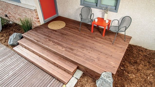 Decks are popular backyard features, but they also make for dramatic front entries. Instead of removing those concrete front steps, save some time by building a wood deck over and around them.