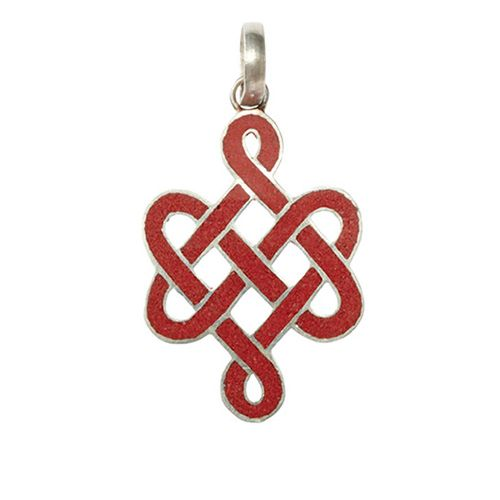 Coral Endless Knot Pendant:DharmaCrafts meditation supplies