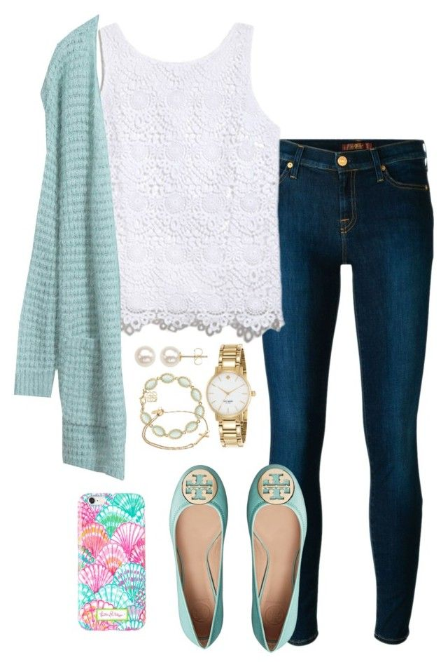 """Preppy contest entry"" by valerienwashington ❤ liked on Polyvore featuring 7 For All Mankind, Lilly Pulitzer, Tory Burch, Kate Spade, Kendra Scott, Alex and Ani, Honora, women's clothing, women's fashion and women"
