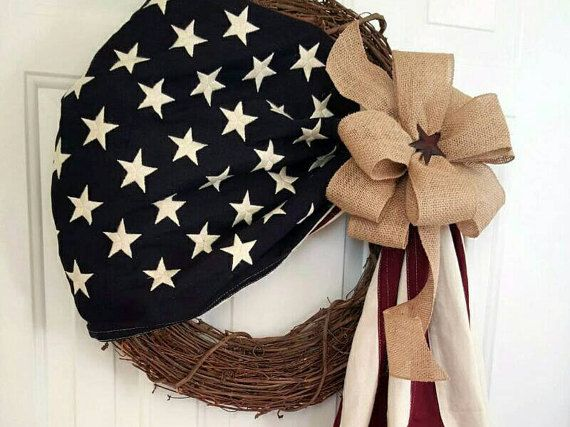 American Flag Wreath-Patriotic Wreath-Flag Wreath-Red White & Blue  Wreath-Military Wreath- Active Military Wreath-4th of July Wreath