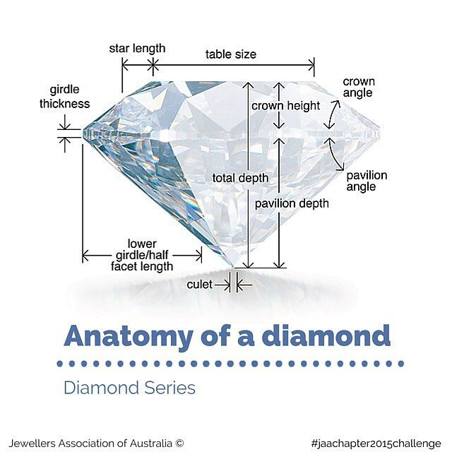 #anatomyofadiamond   A diamond's #proportions are calculated to achieve maximum #brightness and #sparkle. This requires excellent cutting technique, which is reflected in a diamond's cut grade.  A diamond cut too shallow or too deep will result in poor #brilliance.  Diameter: The width of the diamond as measured through the girdle.  Table: The largest facet of a gemstone.  Crown: The top portion of a diamond extending from the girdle to the table... Read more at jaa.com.au