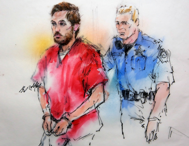 James Holmes appears in court on the first day of his preliminary hearing on Jan. 7, 2013.  Sketch artist Bill Robles  http://www.thedenverchannel.com/news/james-holmes-preliminary-heari-1