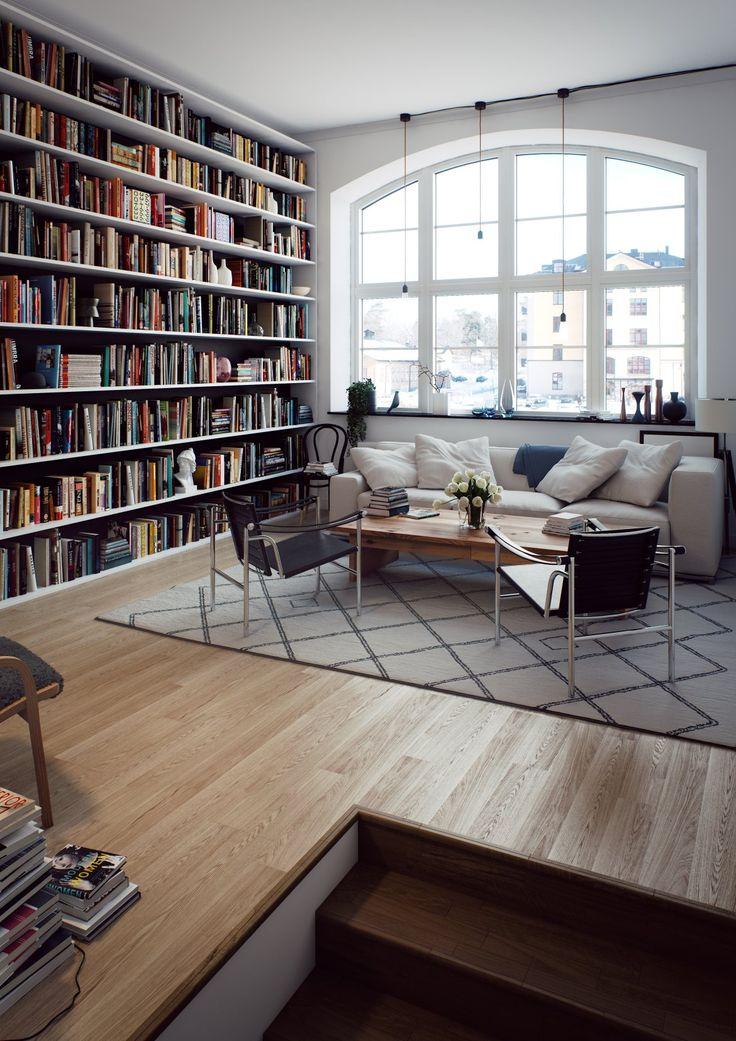 Bibliotek och stora fönster