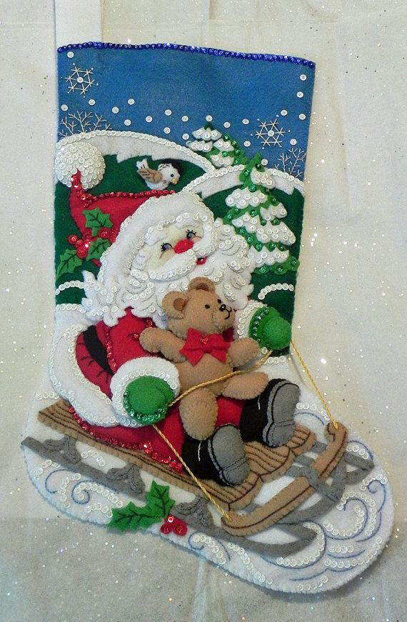 Santa's Sled Bucilla 18 Christmas Stocking by CreationsByCalhoun