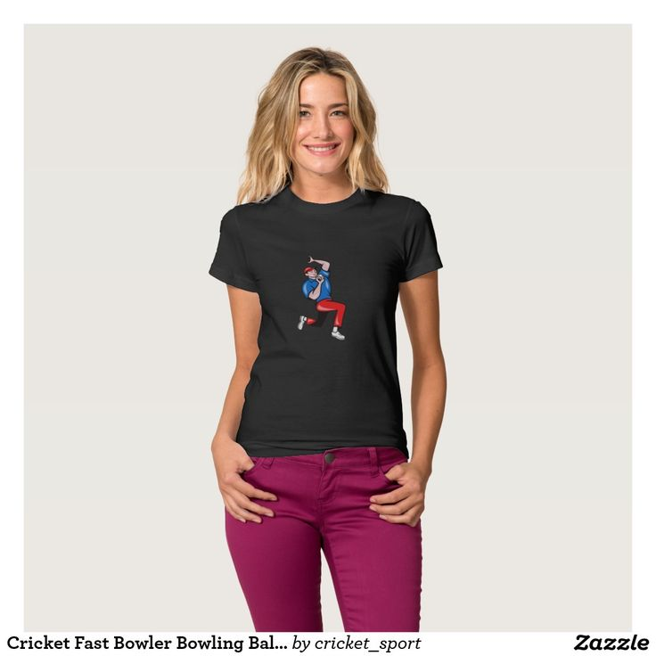 Cricket Fast Bowler Bowling Ball Blue Red Tee Shirt. Cricket World Cup women's t-shirt with an illustration of a cricket player fast bowler bowling with cricket ball in background isolated on white. #cricket #cricketworldcup #t20worldcup #worldtwenty20 #t20worldcup2016