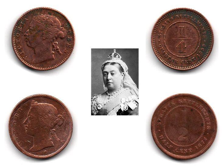 Monedas de colección de Straits Settlements, ex Colonia de la Corona Británica situada en la península de Malaca (Asia). Estas monedas en concreto son de la época de la Reina Victoria , primera emperatriz de la India. Sus cecas de acuñación fueron Heaton - Birmingham (H), Soho Mint (W) y Bombay (B).