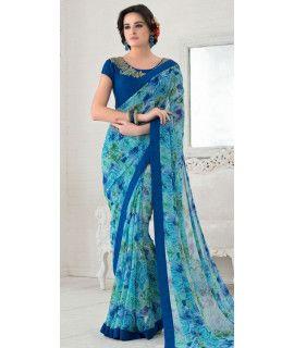 Dashing Blue Silk Designer Saree With Blouse.