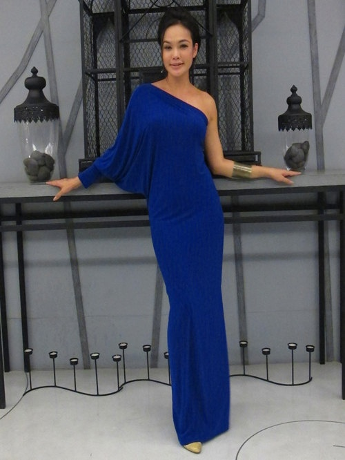 Royal Blue one shoulder evening long dress Elagance S - 6XL. $42.27, via Etsy.