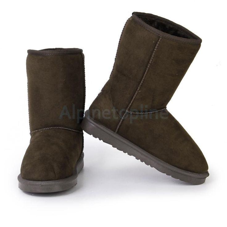 1Pair Women Mid-Calf Flat Heel Snow Boots Winter Lined Lady Shoe Us Size 6 Brown