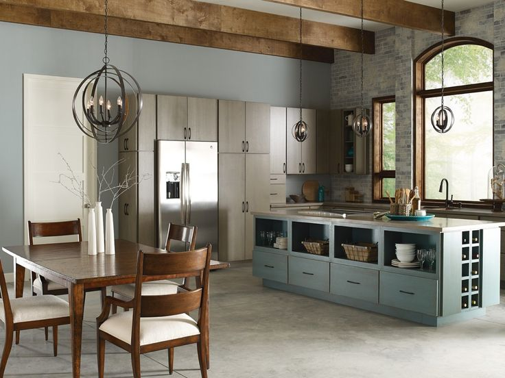 A Light Blue Island Bring In New Element To The Design Scheme Of This Contemporary Kitchen Featuring Fixtures From Our Equinox Collection