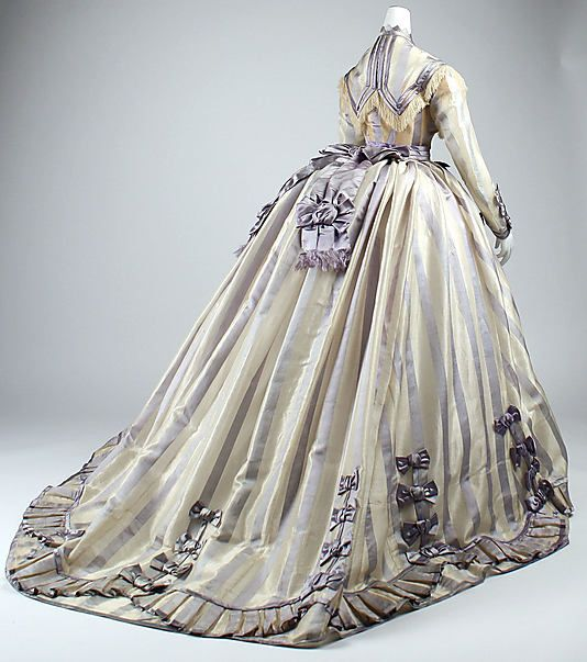 Back of a striped lavender piña cloth and silk dress by Depret, French, 1867-1869.