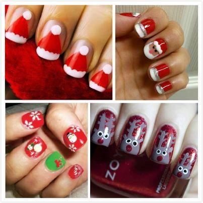 Christmas nails love the santa hat