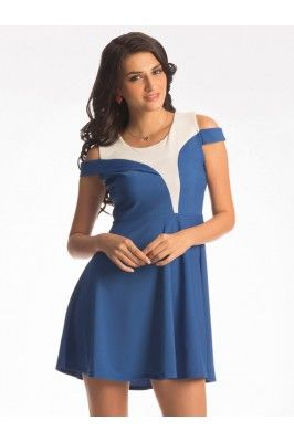 Pretty Secrets Blue And White Polyester Off-Shoulder Flared Dress