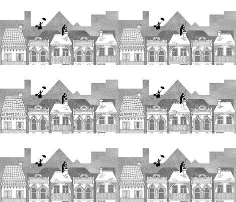 Mary Poppins (black and white) fabric by delsie on Spoonflower - custom fabric