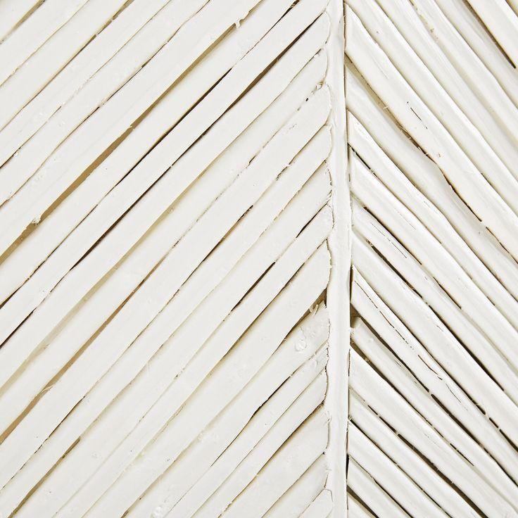 Tête de lit 140 en manguier massif blanc et rotin | Maisons du Monde