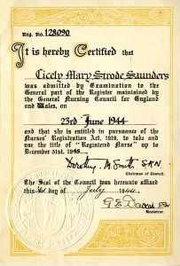 Cicely Saunders' certificate of qualification as a registered nurse issued by the General Nursing Council for England and Wales, 1944.