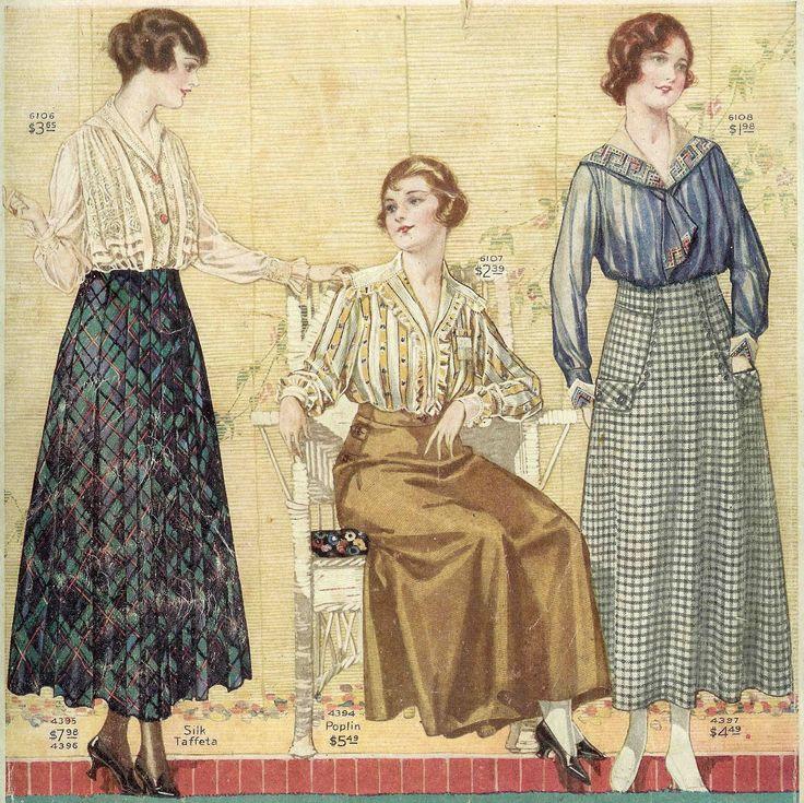 Antique Images: Vintage Fashion Graphic: Women's Vintage Fashion Plate Clip Art from 1917 Clothes Catalog