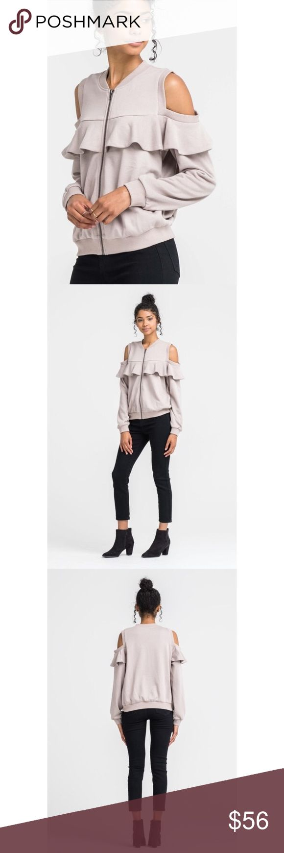 🆕 Josie Cold Shoulder Ruffle ZipUp  - Taupe The Josie Cold Shoulder Ruffle Zip-Up Sweater is an amazing piece to add to your casual wardrobe! Without effort you'll look amazing running errands!  Model is wearing a Small. (Also available in Black)  80% POLYESTER 20% COTTON . . . If you would like to make an offer, please use the OFFER BUTTON. {10% discount on all 2+ orders} . . FOLLOW US✌🏽️ Insta 📸: @likenarly Facebook📱: likenarly Website 🌐: likeNarly.com likeNarly Sweaters