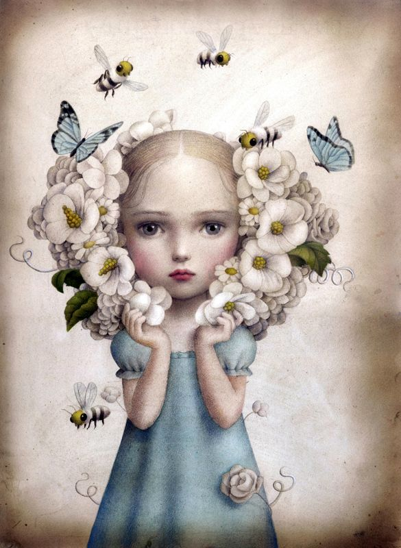 "Nicoletta Ceccoli Inflorescence 14"" x 11"" acrylic on paper @ Coprogallery's ""Suggestivism Cronology"" curated by Nathan Spoor August 16 - September 6, 2014"