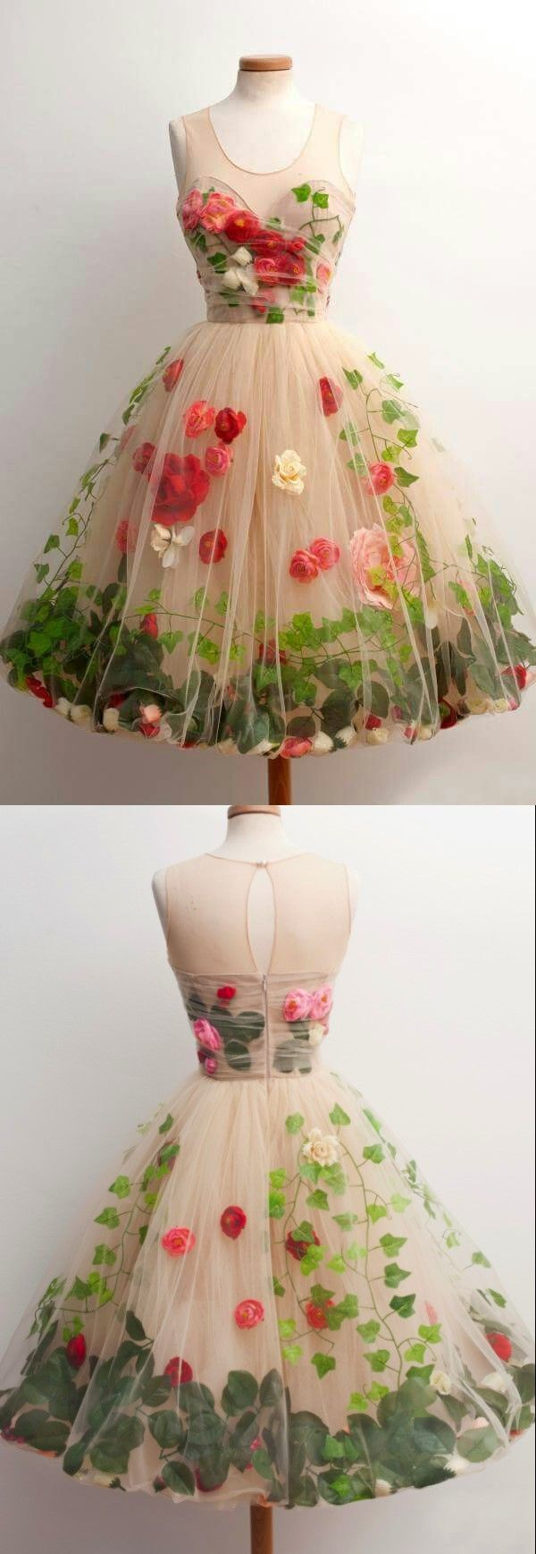 Vintage Homecoming dress,Short Elegant Champagne Prom Dress, Knee-length Party Dress with Flower