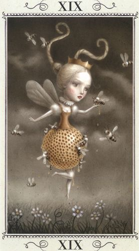 The Sun - Nicoletta Ceccoli Tarot. When a girl walks in with a n itty bitty waist and a round thing in your face, you'll get stung by animals.