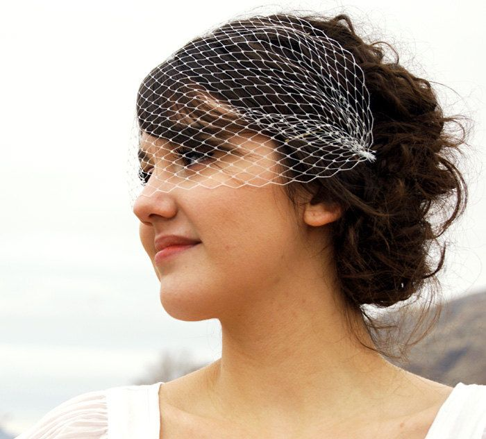 Ivory Birdcage Veil Bandeau Style Birdcage Veil White Birdcage Veil Black Birdcage Veil -Fast Shipping (see below)  MADE TO ORDER. $35.00, via Etsy.