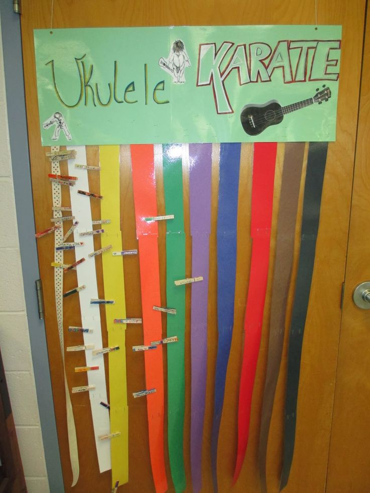 Ukulele karate with different colored belts to earn and move your decorated clothespin over to. We use the same songs as recorder karate.