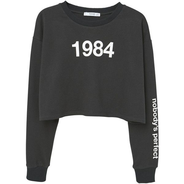 Cropped Cotton Sweatshirt ($25) ❤ liked on Polyvore featuring tops, hoodies, sweatshirts, sweaters, print crop tops, long sleeve tops, long sleeve sweatshirt, crop top and patterned tops