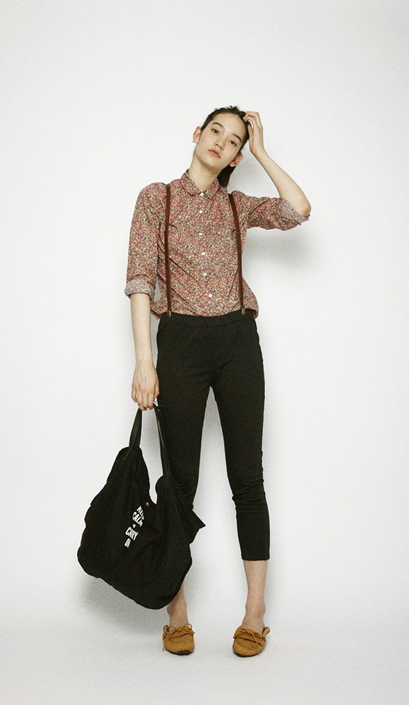 cropped pants with suspenders + maroon floral shirt | fall autumn style