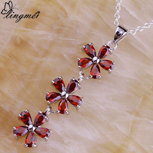 Lingmei Новый Красный Ювелирные Изделия Леди Гранат Серебряные Цепочки, Ожерелья Оптовая Очаровательная Женщины Цветочный Дизайн Свободный Корабль
