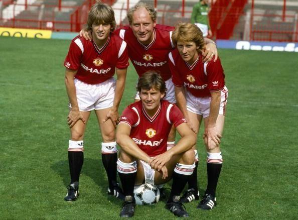 Robbo with the club's new signings: Jesper Olsen, Alan Brazil, & Gordon Strachan