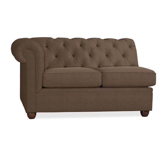 Chesterfield Upholstered Left-arm Loveseat, Polyester Wrapped Cushions, Organic Cotton Basketweave Light Gray