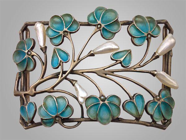 Levinger & Bissinger Silver Plique-Ã -jour enamel Pearl Brooch ca1900