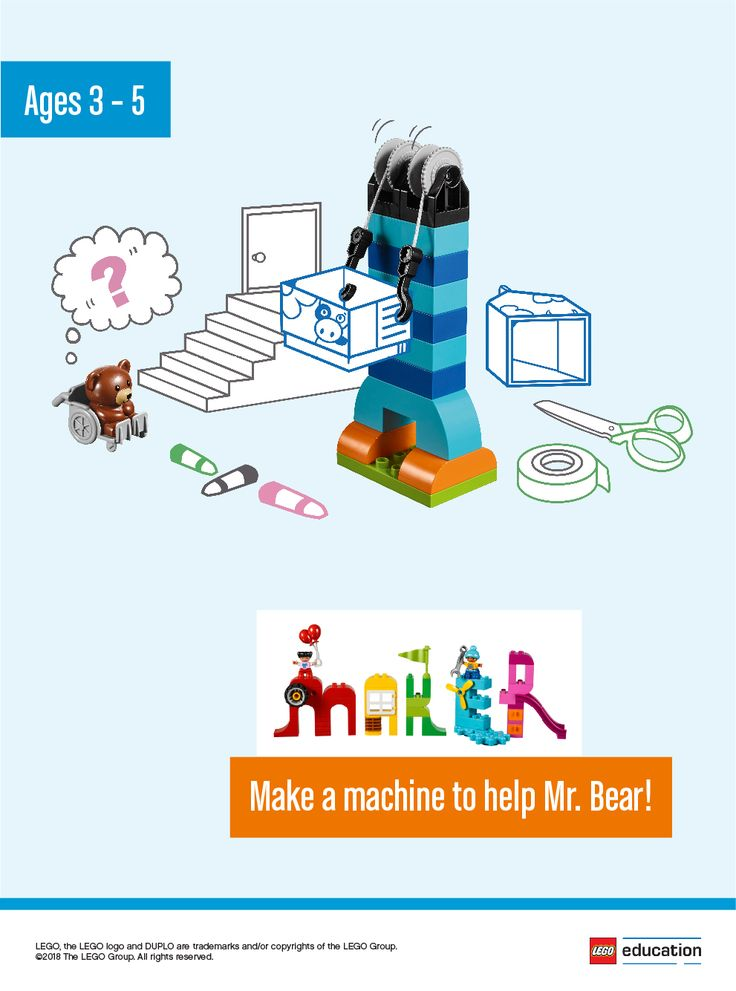 Work with your children to create a machine or contraption to help Mr. Bear get up the stairs. Ask the children if they have ever noticed how buildings or areas have secured wheelchair access. Encourage them to use LEGO® DUPLO® bricks and other materials from your classroom to help Mr. Bear. How can you make it safe for Mr. Bear? And what would make it fun? What would happen if Mr. Bear needed to go down the stairs?