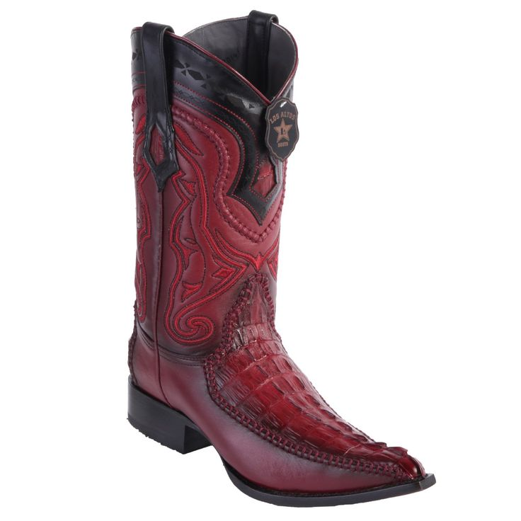 Los Altos Boots Caiman Tail 3x Toe Stitched Boots - Faded Burgundy