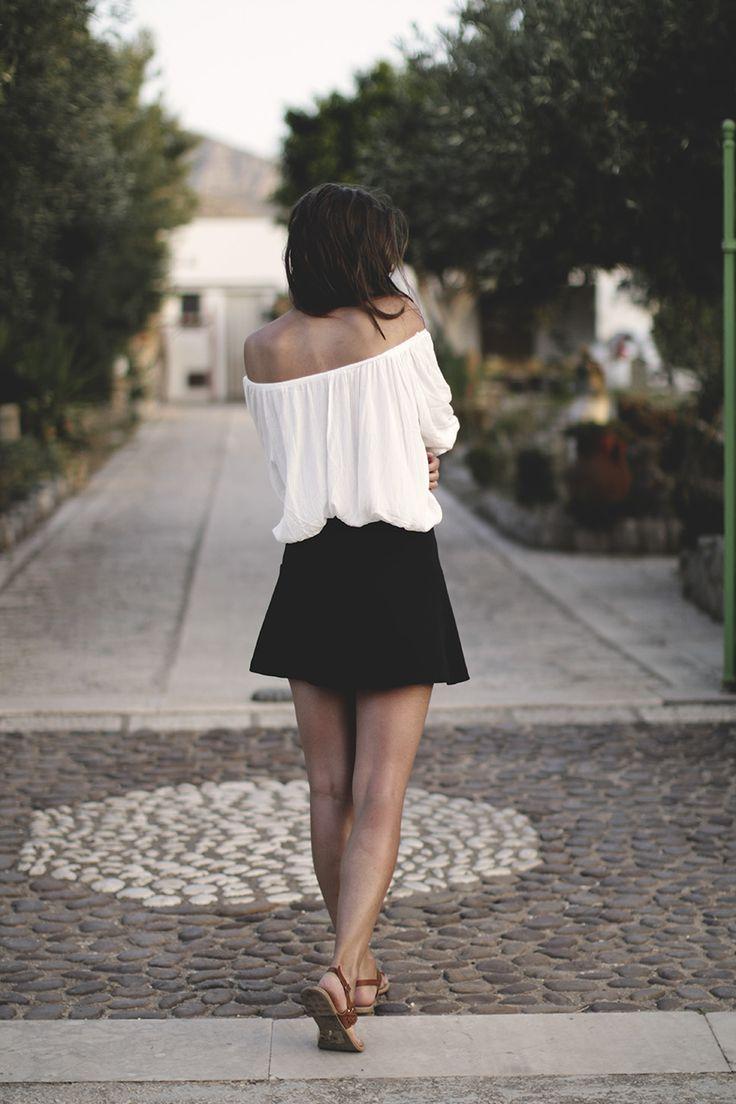 romantic ootd white & black look