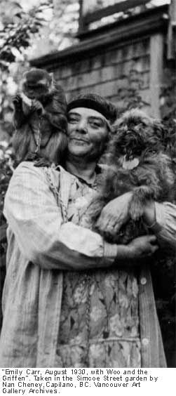 """Emily Carr, August 1930, with Woo and the Griffen"" by Nan Cheney."