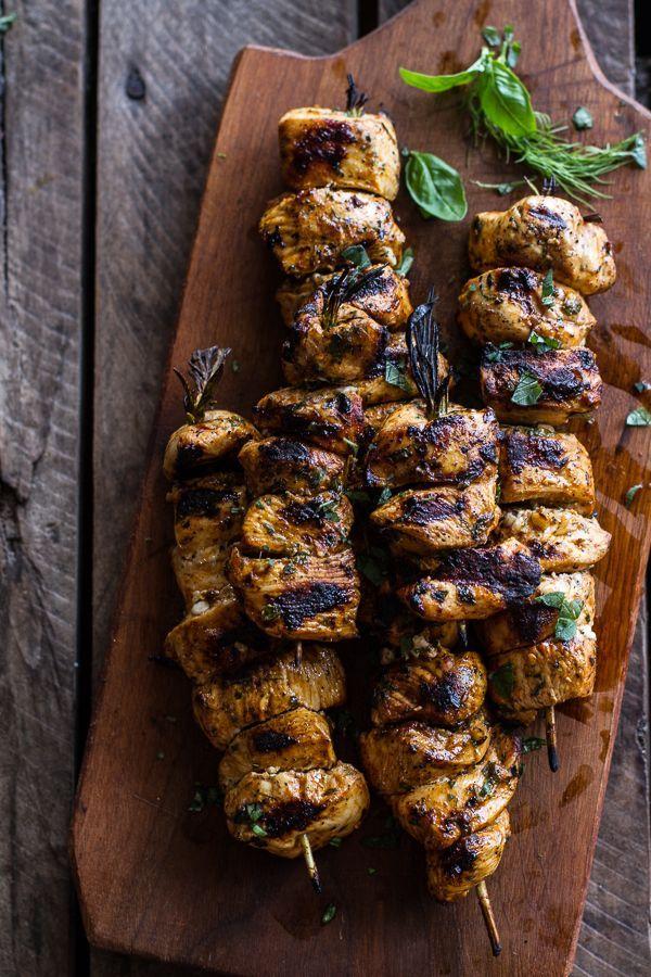 Greek Chicken Souvlaki and Rice Pilaf Plates w-Marinated Veggies + Feta Tzatziki | http://halfbakedharvest.com /hbharvest/