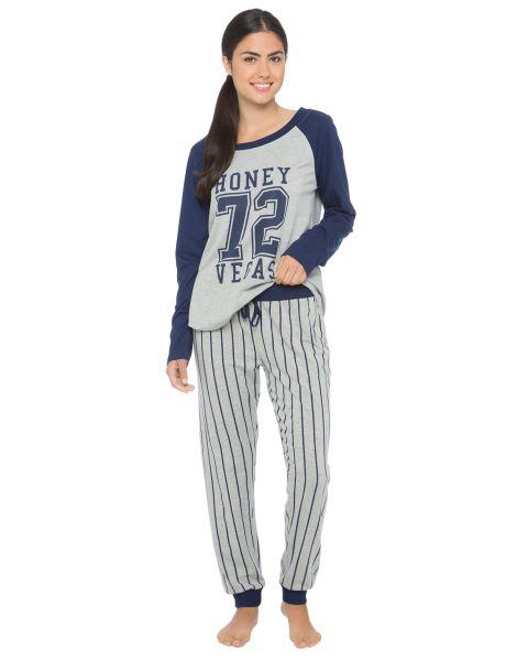 A baseball inspired knit pyjama set with a printed raglan top and striped pants. #Newandnow