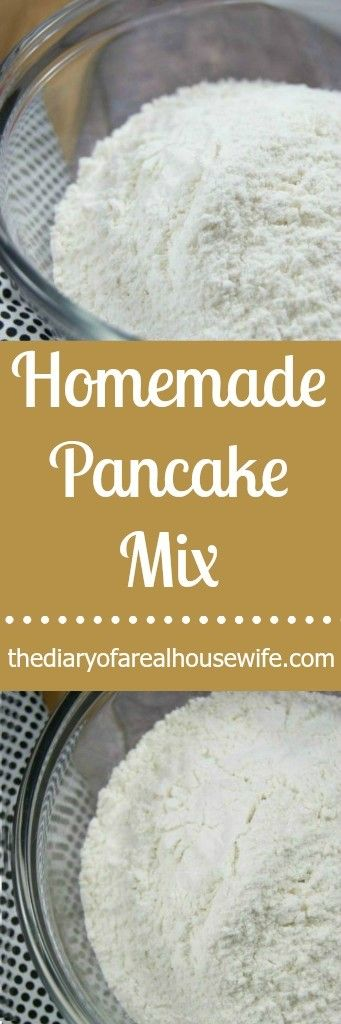 Homemade Pancake Mix. I will never again grab a store bought pancake mix. Just leave this in your pantry in a sealed container and you can mix up pancakes anytime you want!!